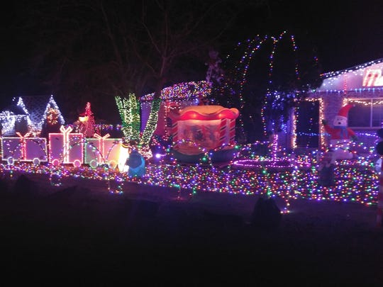 Christmas lights on display at the Martinez family's home, located at 4337 Doña Ana Road.