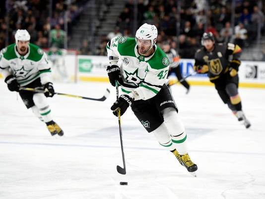 Dallas Stars right wing Alexander Radulov (47) skates with the puck against the Vegas Golden Knights during the first period of an NHL hockey game, Tuesday, Nov. 28, 2017, in Las Vegas. (AP Photo/David Becker)