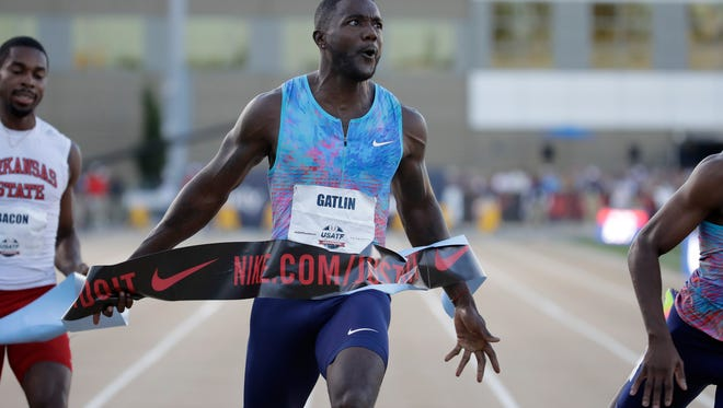 SACRAMENTO, CA - JUNE 23:  Justin Gatlin celebrates as he win the Men's 100 Meter Final during Day 2 of the 2017 USA Track & Field Championships at Hornet Satdium on June 23, 2017 in Sacramento, California.  (Photo by Andy Lyons/Getty Images)
