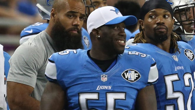 Detroit Lions linebacker Stephen Tulloch watches a game against the Buffalo Bills on Sept. 3, 2015, at Ford Field in Detroit.