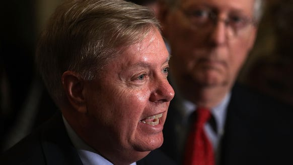Sen. Lindsey Graham speaks as Senate Majority Leader