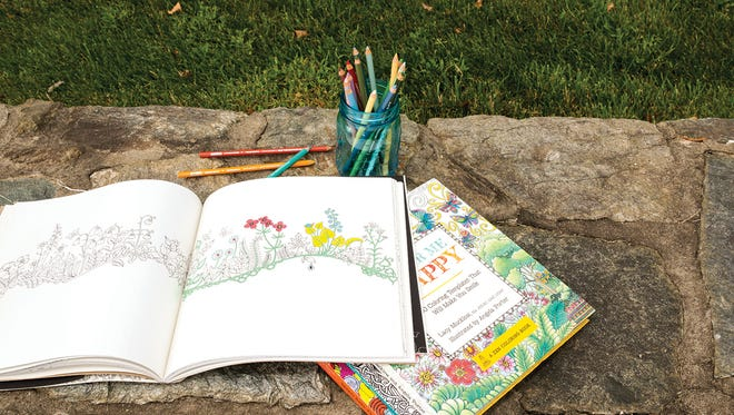 Coloring books, such as Enchanted Forest by Johanna Basford and Color Me Happy by Lacy Mucklow and Angela Porter, have become popular for adults.