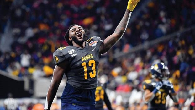 North Carolina A&T receiver Elijah Bell enjoys a moment during the Aggies' eventual defeat of Alcorn State at the Celebration Bowl in December.