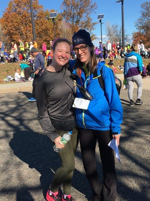 Left to right, Siobhan Dwyer and Claire Marble, at the New York City Marathon.