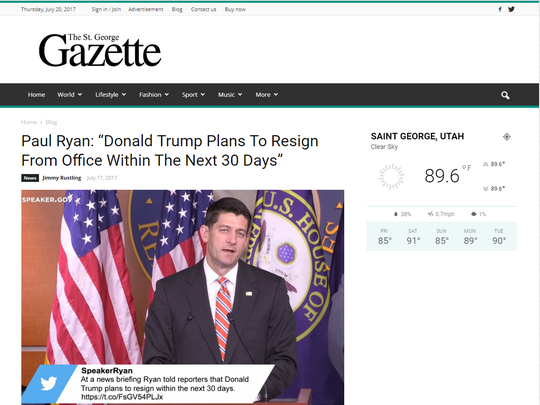 The St. George Gazette, without a Google ad.