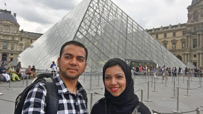 A vacation photo of Faisal and Nazia Ali, who were kicked off a Delta Airlines flight from Paris to Cincinnati on July 26. They were returning from a week-long trip celebrating their 10th anniversary in London and Paris.