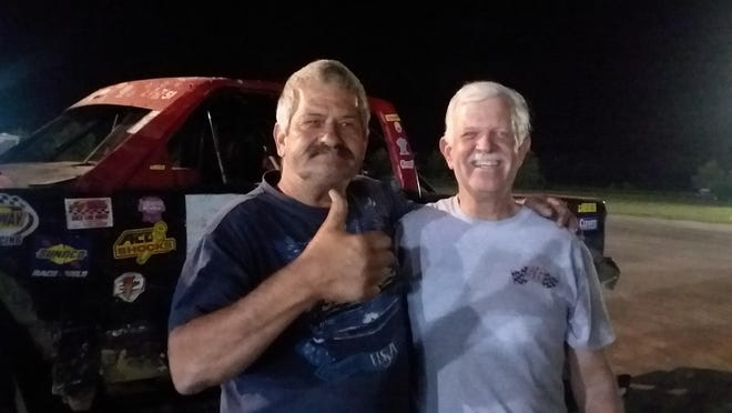 Burlington's Roger Brockett, 63, (left) and Jack Broeg, 68, are helping to bolster the mini-haulers class at 34 Raceway. Brockett and Broeg have become close friends through racing at 34 Raceway through the years.