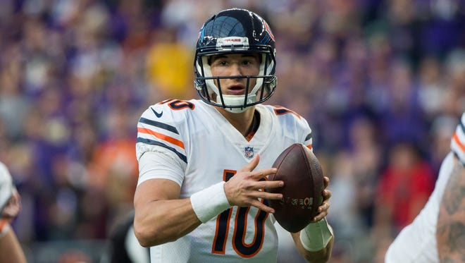 Chicago Bears quarterback Mitchell Trubisky (10) drops back to pass in the fourth quarter against the Minnesota Vikings at U.S. Bank Stadium.
