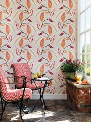 Londoner Nina Campbell's new Fontibre wallpaper collection for Osborne & Little is inspired by the travels of her great uncle, who was an accomplished watercolorist. Campbell's Fontibre pattern, shown here, is named after the source of the River Ebro in the Iberian Peninsula and features an arrangement of stylized painted foliage.