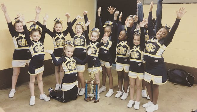 The East Brunswick/Spotswood Golden Bear ChargersJr. Pee Wee Small PW2 team placed second at the Eastern Region Cheer Championships this month and willhead to compete at the nationalsfrom Dec. 2 to 9. The Golden Bear Chargers are scheduled tocompeteDec.7 at Disney's ESPN Wide World of Sports against teams from around the country.