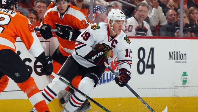 Blackhawks captain Jonathan Toews has missed four games due to a back injury.