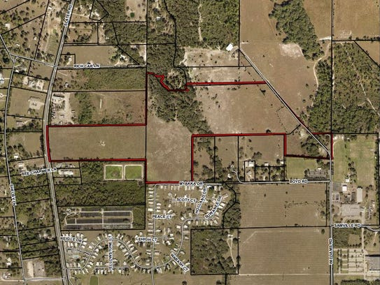 Gully Creek, outlined, is the site of a 330-unit development