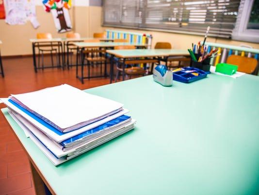 Empty elementary school classroom