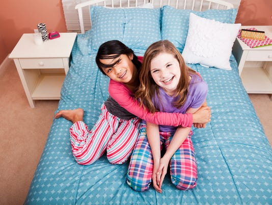 Girls having a sleepover