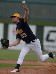 RiverRats' Luke McGee pitches during a baseball game against the Bluesox on John Cate Field Saturday, July 26, 2014 at McBride Stadium.