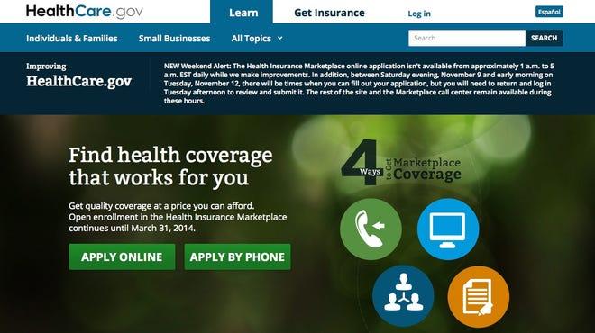 Healthcare.gov screen grab taken Nov. 12, 2013.