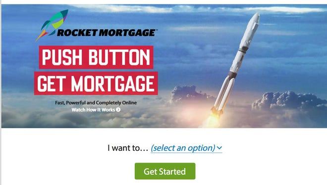 A screen shot of Quicken Loans' Rocket Mortgage service.