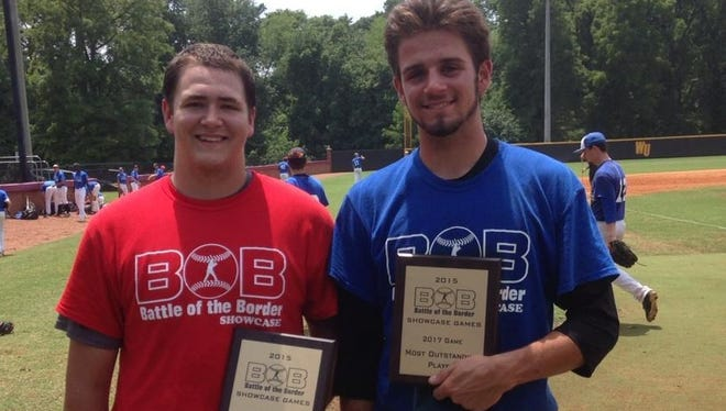 North Henderson's Ezra Morrison, left, was named the most valuable pitcher at Wednesday's Battle of the Border showcase at Appalachian State.