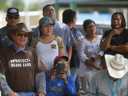 Shiprock community members listen as Navajo Nation