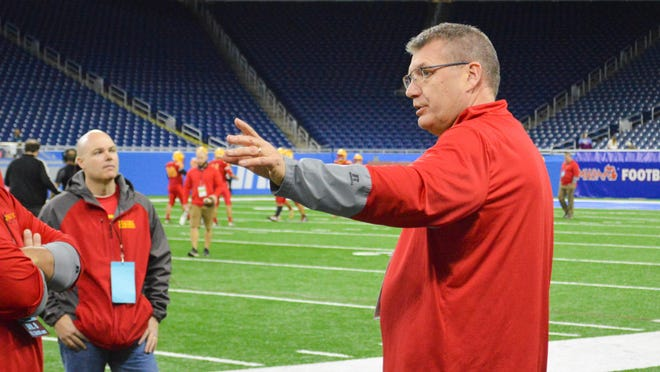 Coach Mitch Hubbard directs the team during Reading High School's 2019 state finals appearance at Ford Field.