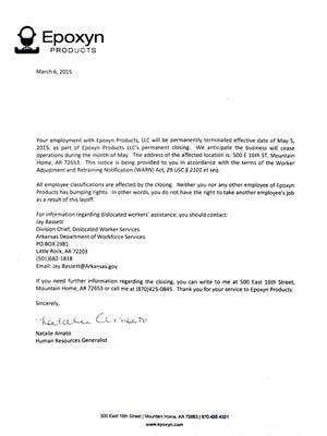 Shown is a copy of the termination letter employees of Epoxyn Products received early in March.