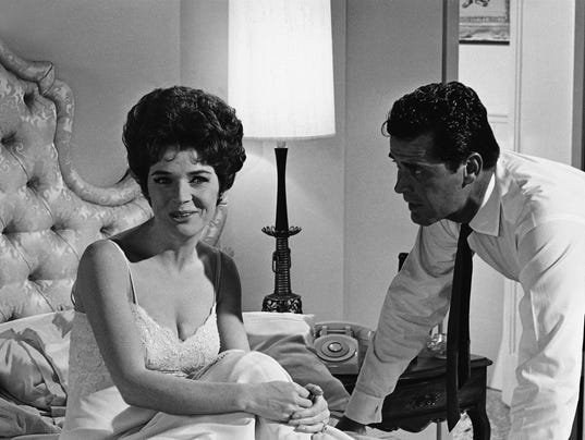 "Polly Bergen and actor James Garner go through a scene during the filming  of ""Move Over, Darling,"" in the Hollywood section of Los Angeles on July  18, 1963."