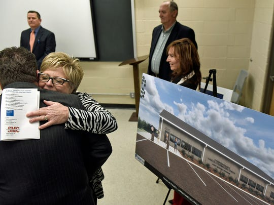 FCCTC Practical Nursing Program Nursing Administrator Janyce Collier, left, hugs well-wishers. Franklin County Practical Nursing Program held a groundbreaking ceremony Thursday, December 8, 2016, for the planned new building on the Franklin County Career and Technology Center grounds.