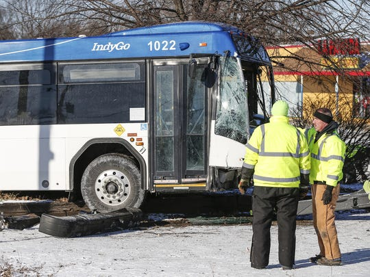 A car and IndyGo bus collided at the intersection of
