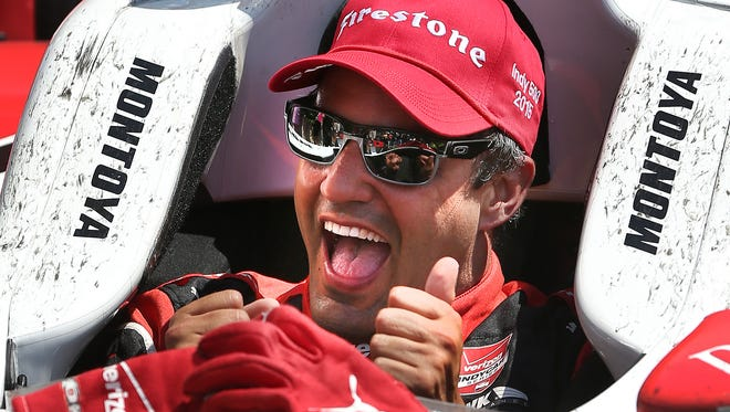Juan Pablo Montoya, of Team Penske celebrates after winning the 99th running of the Indianapolis 500. His celebration meal? He wasn't sure. He's not one to plan ahead when it comes to food.