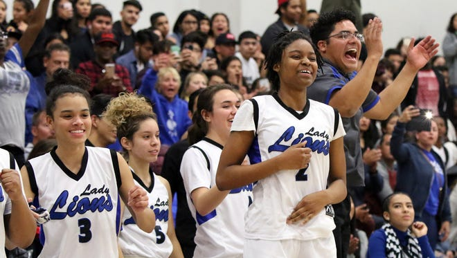 02/24/18 Taya Gray, Special to The Desert SunThe Cathedral City girls varsity team reacts to winning their CIF semifinal game against Polytechnic in Cathedral City on Saturday, February 24, 2018.