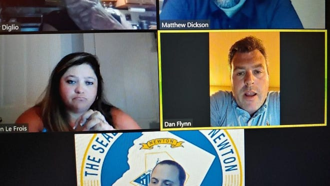 In this screen shot of the Newton Town Council meeting via Zoom on Aug. 10, Councilman Dan Flynn is seen announcing he will not be a candidate for re-election.