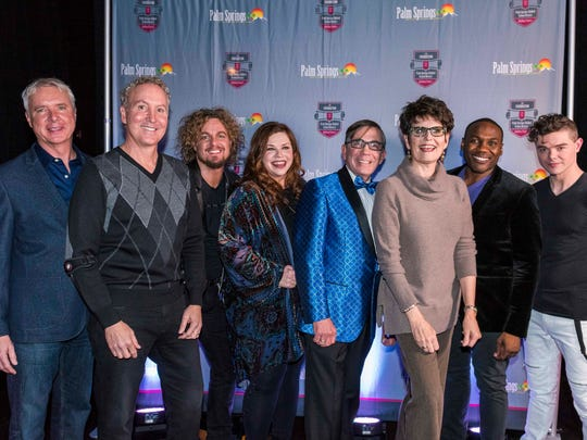 (L) James Williamson and Geoff Kors, (C) Mayor Robert Moon and Lucie Arnaz join the performers at the after-party.