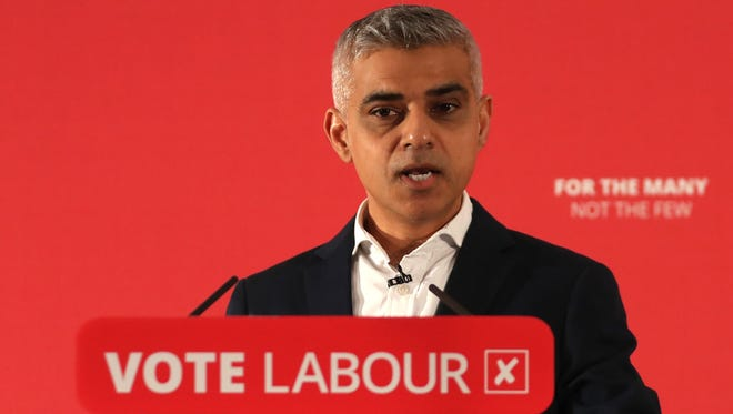 The Mayor of London, Sadiq Khan speaks during the launch of Labours local election campaign in central London on April 9, 2018.