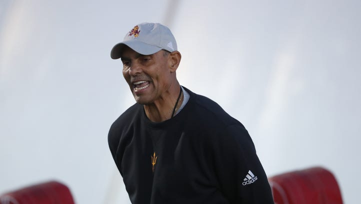 ASU coach Herm Edwards braves flight with Blue Angels before Friday night lights practice