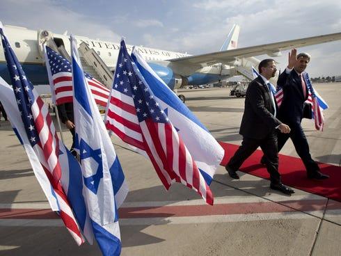 Secretary of State John Kerry walks alongside U.S. Ambassador to Israel Dan Shapiro, as the former arrives in Israel for a private meeting with Prime Minister Benjamin Netanyahu on Nov. 8, 2013.