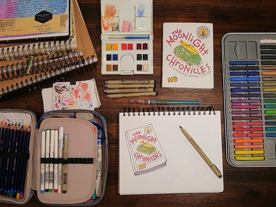 This October, the Gallery at Plainsboro Library will exhibit a collection of illustrative journals by Plainsboro artist Paula Ridley.