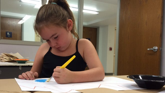 Dakota Householder, 6, of Zanesville, paints a sea, mountains and sky during Art Adventure for Kids at the Zanesville Museum of Art. The event was organized by the On The Same Page Muskingum.