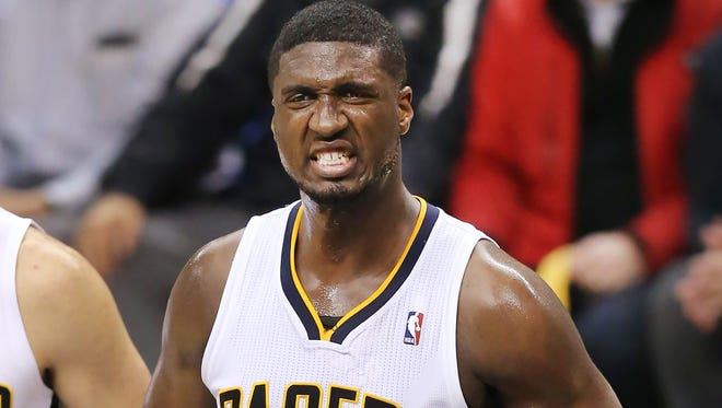 Pacers center Roy Hibbert walks off the court in disgust at the end of the first half of Game 2 Eastern Conference playoffs against the Atlanta Hawks at Bankers Life Fieldhouse on Tuesday, April 22, 2014.