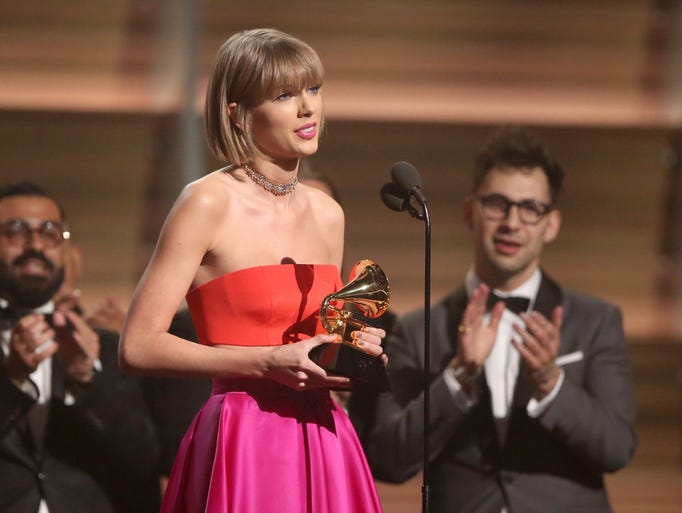 Taylor Swift accepts the award for album of the year