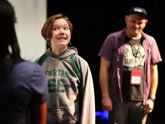 White Station student Emlyn Polatty works on an acting