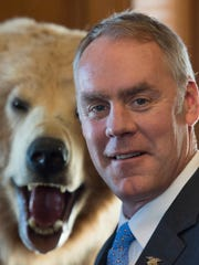 Interior Secretary Ryan Zinke is seen at the Interior Department