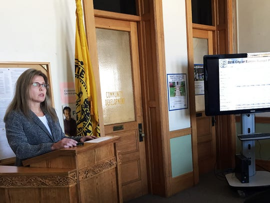 Elmira City Manager Kimberlee Middaugh unveils a proposed