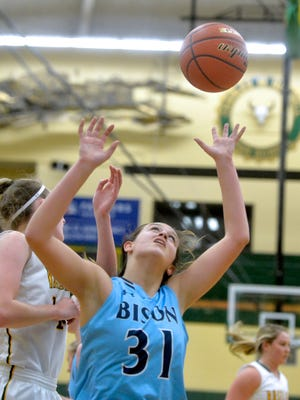 Great Falls High's Jorgie Hawthorne looks to grab a rebound earlier this season. The Bison fell to Bozeman Saturday.