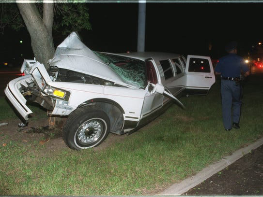 The accident scene where this limo carrying Red Wing