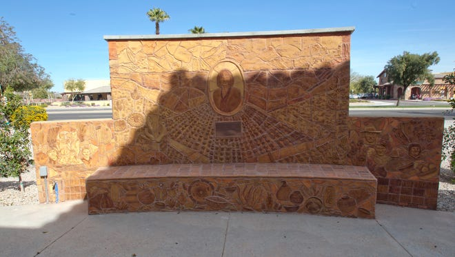 Surprise is preparing a public art component within the Bell-Grand Interchange Improvement Project and seeks public input on the preliminary design concepts. Pictured is an art wall at Adelante Healthcare just outside the wall facing Bell Road, with clay art of the company's founder and farm workers and field scenes. The art is by Connie Whitlock, the association president.  The Wham arts association is a nonprofit in Surprise that has about 60 member artists. The artists do a lot of public art as well as their own shows.