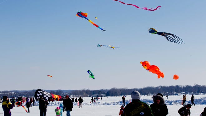 Sky Circus on Ice at Lake Lawn Resort features colorful kites over Delavan Lake.