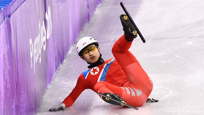 North Korea's Jong Kwang Bom had a rough day on the ice.