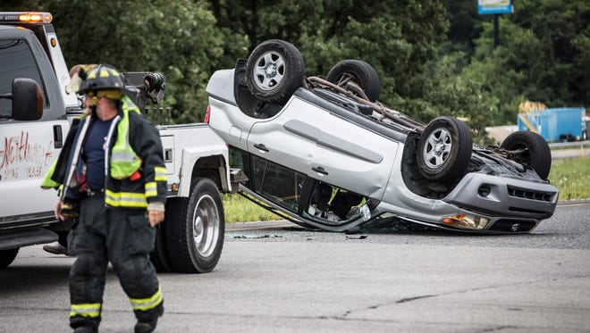 A two-car accident in front of the entrance ramp for thesouthbound lanes ofI-69 from Ind. 332 didn't send anyone to the hospital on Sunday, despite on the of the cars coming to rest  upside down.