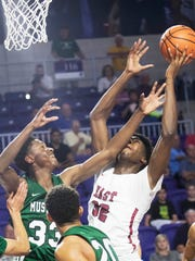 James Wiseman of Memphis East goes to the basket against Lakewood Ranch during the Culligan City of Palms Classic at Suncoast Credit Union Arena on Tuesday. East Memphis won 76-58