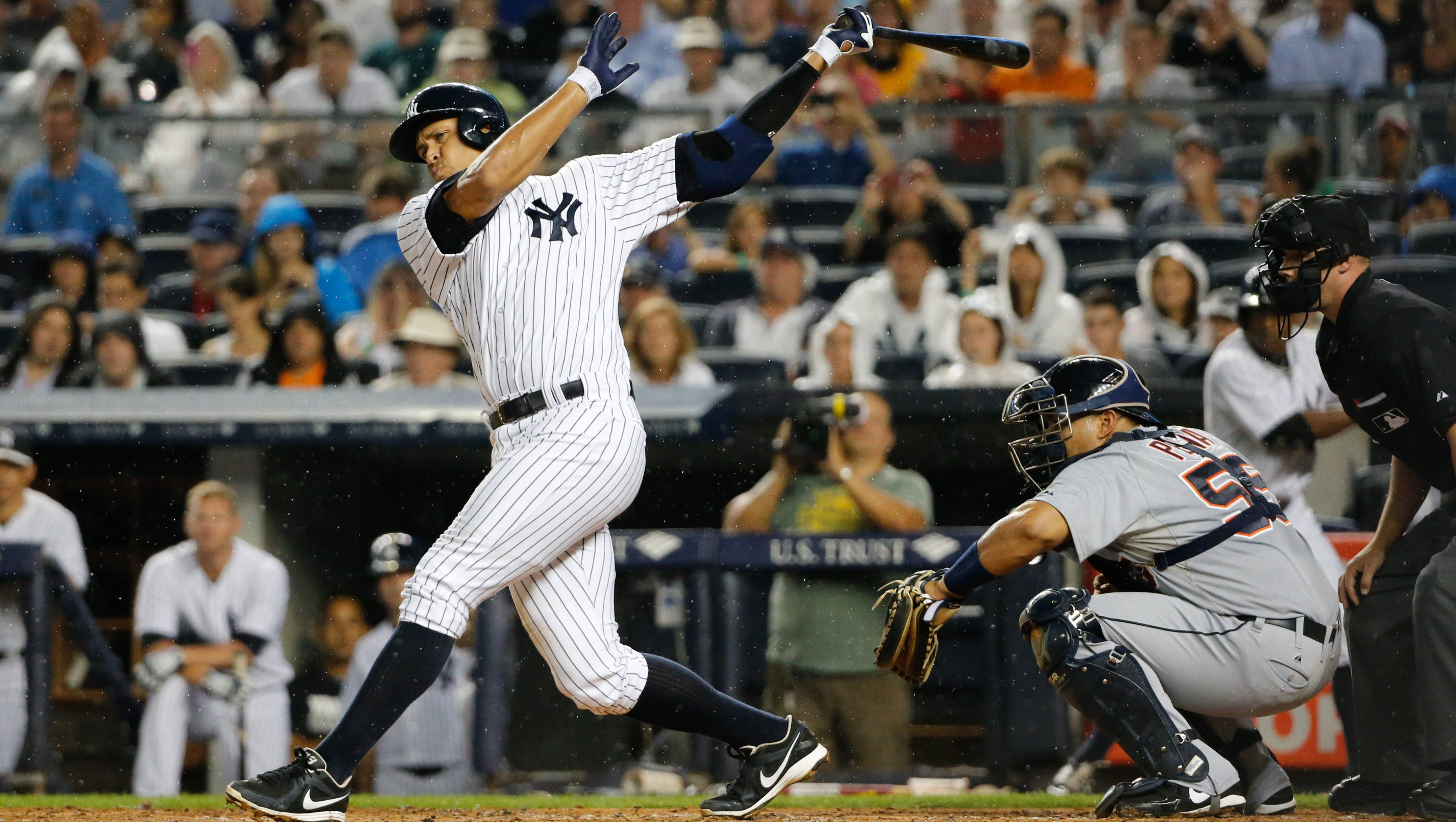 New York Yankees third baseman Alex Rodriguez strikes out swinging during the first inning against the Detroit Tigers at Yankee Stadium.
